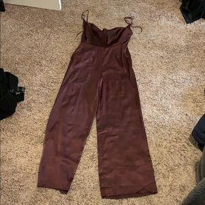 Maroon satin, cowl neck, backless jumpsuit